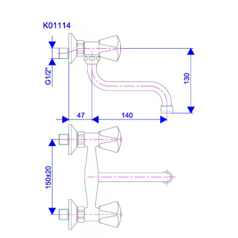 KLASIK 140mm - tehnična skica