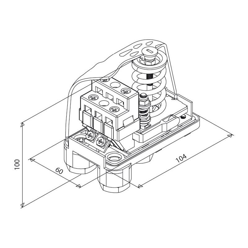 Tlačno stikalo PT/12 tehnična skica