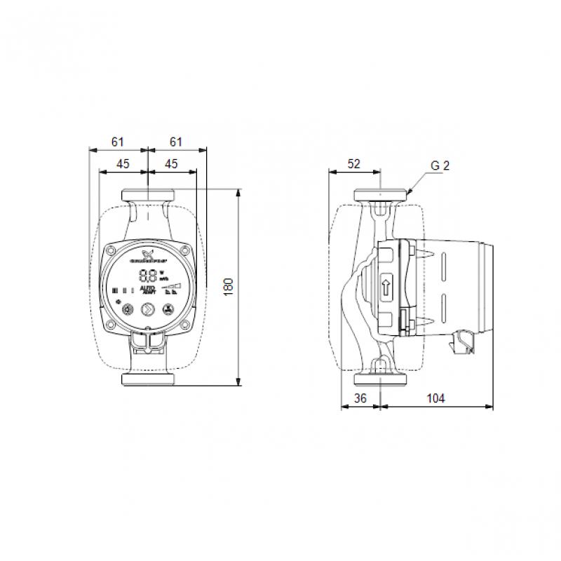 Grundfos ALPHA2 32-40 tehnična skica
