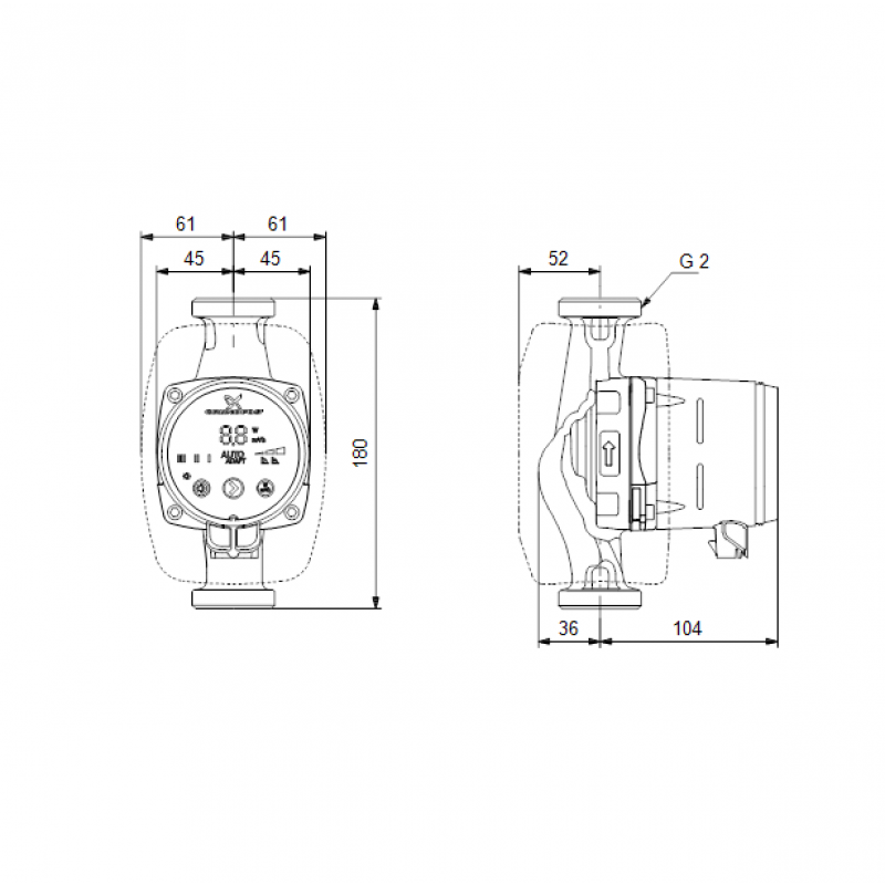 Grundfos ALPHA2 32-60 tehnična skica