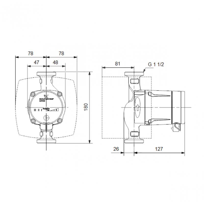 Grundfos ALPHA2 L 25-40 tehnična skica