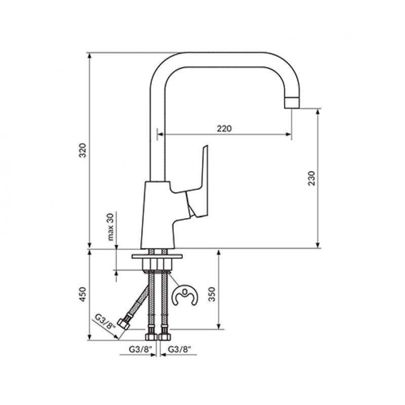 Polprofesionalna armatura za pomivalno korito STOLZ BLACK 138703b - tehnična skica