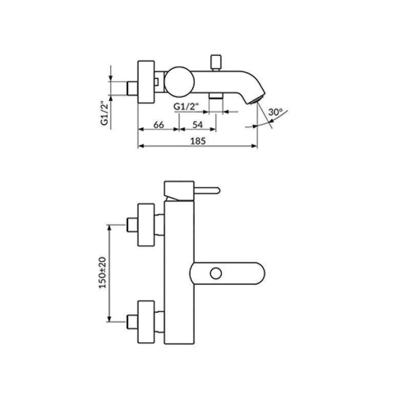 Črna armatura za kad ROSAN DARK JD33101 - tehnična skica