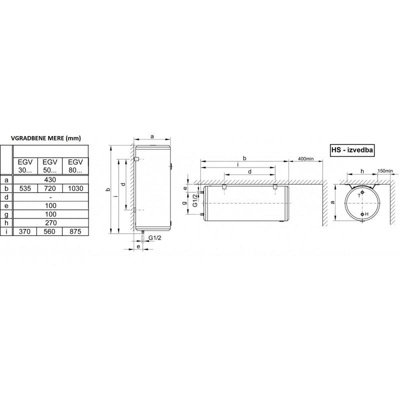 Električni bojler KONČAR EGV 30.2 RI - tehnična skica