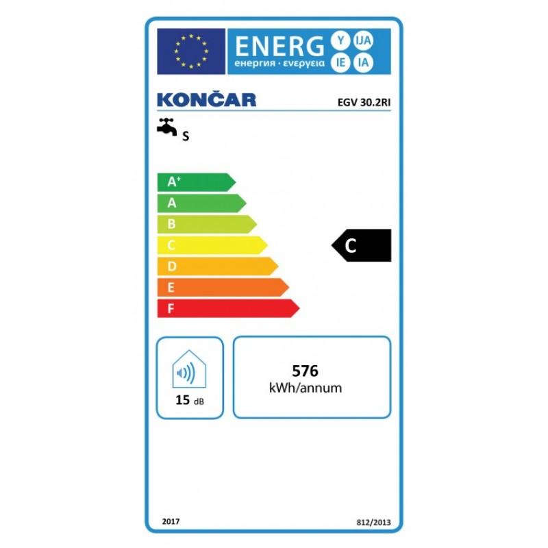 Električni bojler KONČAR EGV 30.2 RI - energetska oznaka