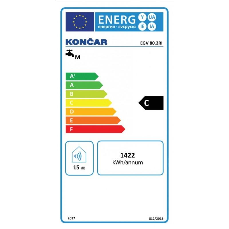 Električni bojler KONČAR EGV 80.2 RI - energetska oznaka