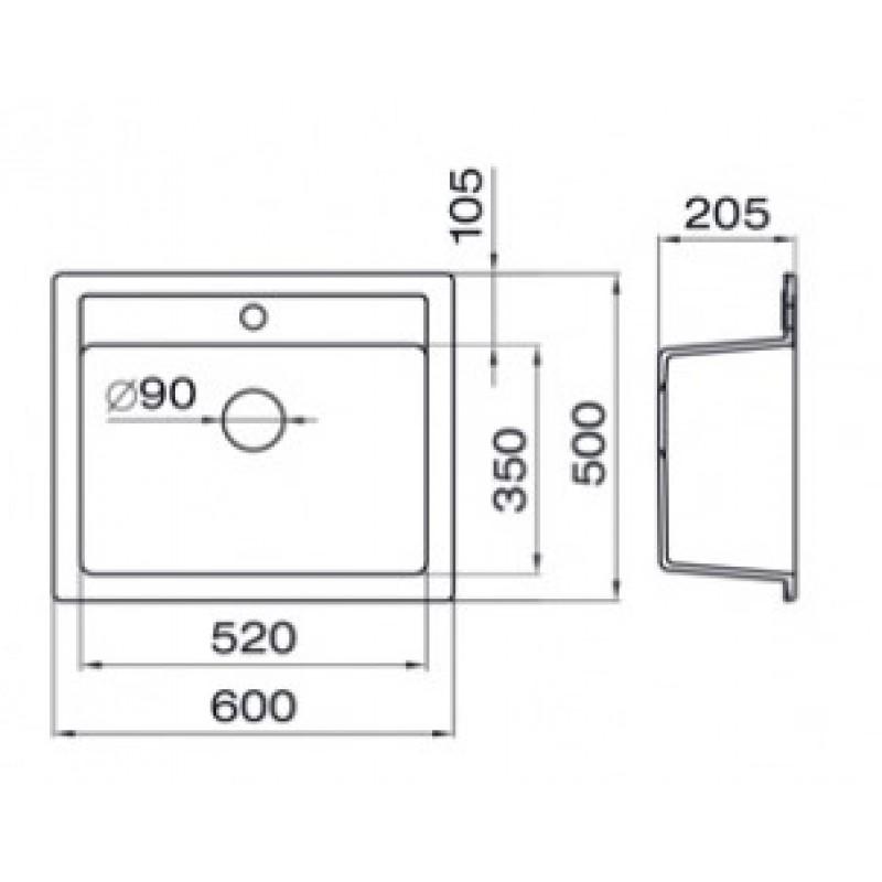 Granitno kuhinjsko korito METALAC QUADRO 60 - dimenzije
