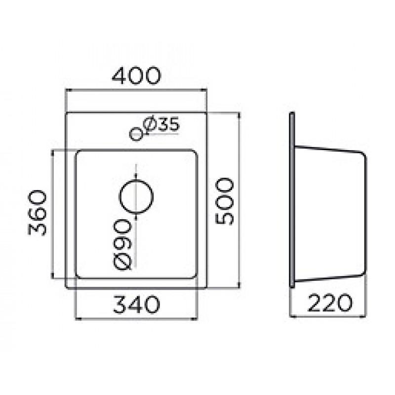 Pomivalno korito METALAC QUADRO 40 - dimenzije