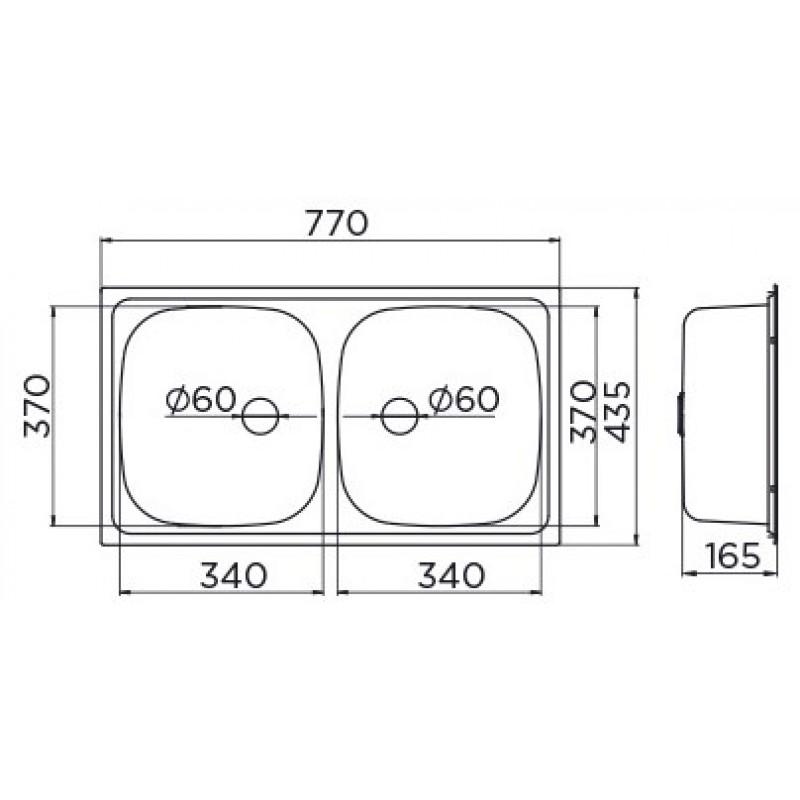 Pomivalno korito METALAC 2D - dimenzije