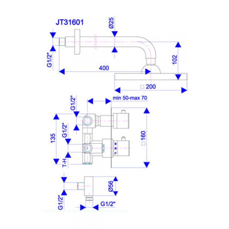 Thermo2 JT31601 - tehnična skica