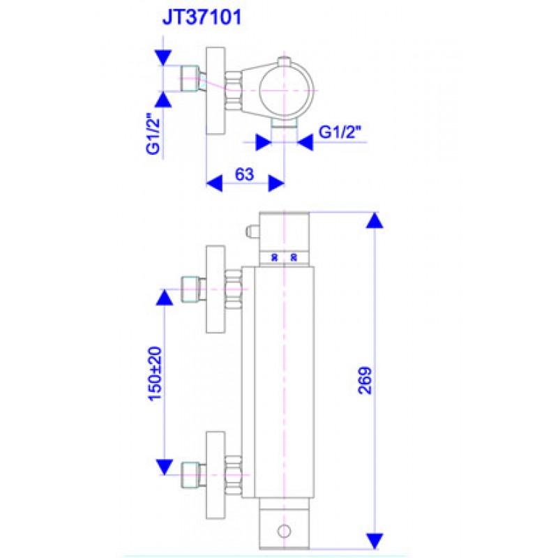 Termostatska baterija THERMO2 - tehnična skica