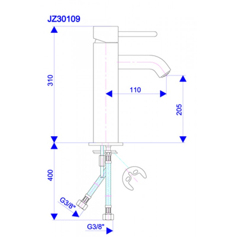 Armatura JZ30109 - tehnična skica