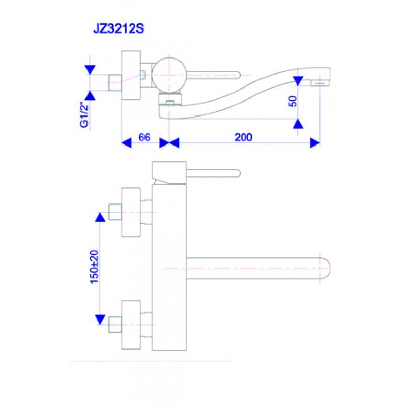 Kuhinjska baterija JZ3212s - tehnična skica