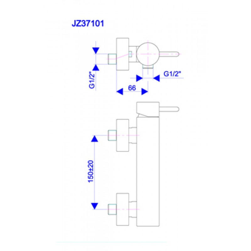 Armatura za tuš ZERRO JZ37101 - tehnična skica