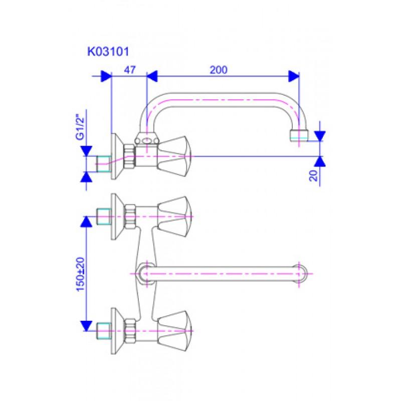 KLASIK KE03101 - tehična skica
