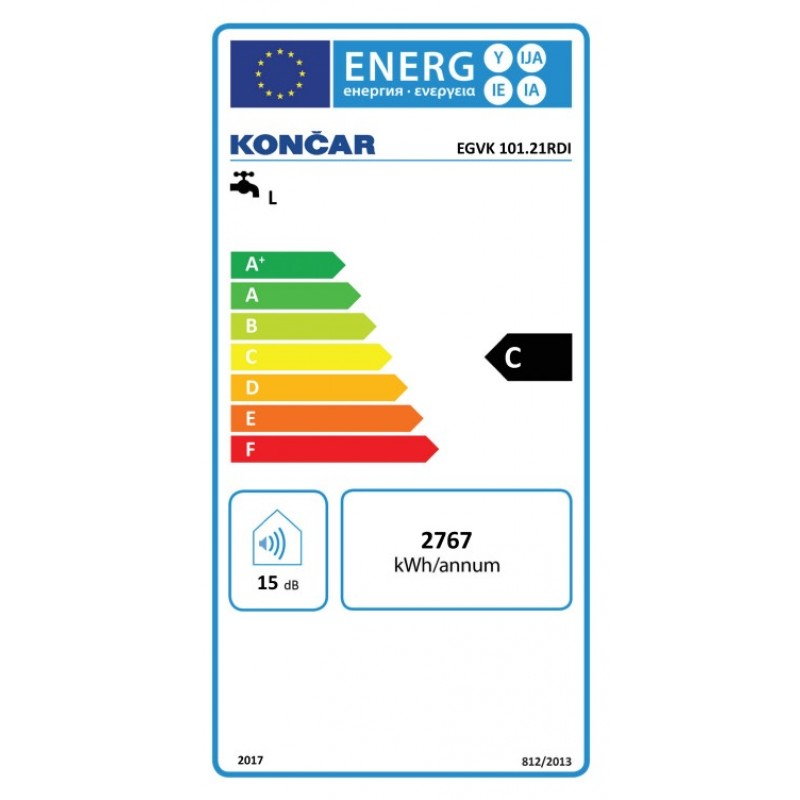 Kombinirani bojler KONČAR EGVK - energetska oznaka