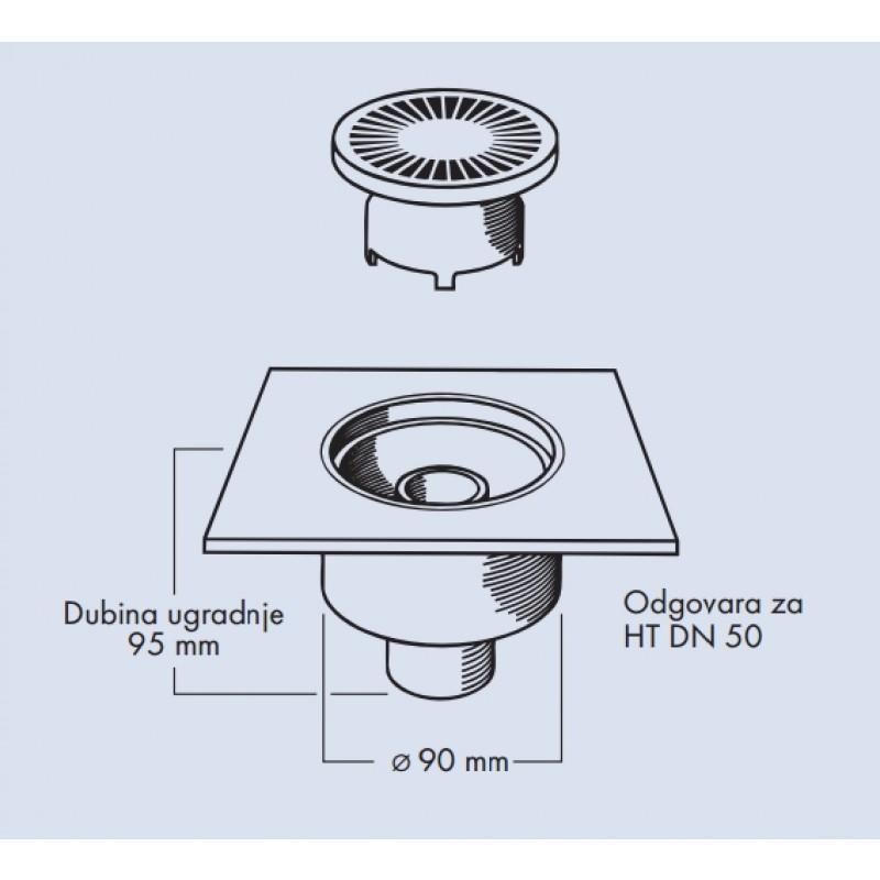 Odtok 067230 - tehnična skica
