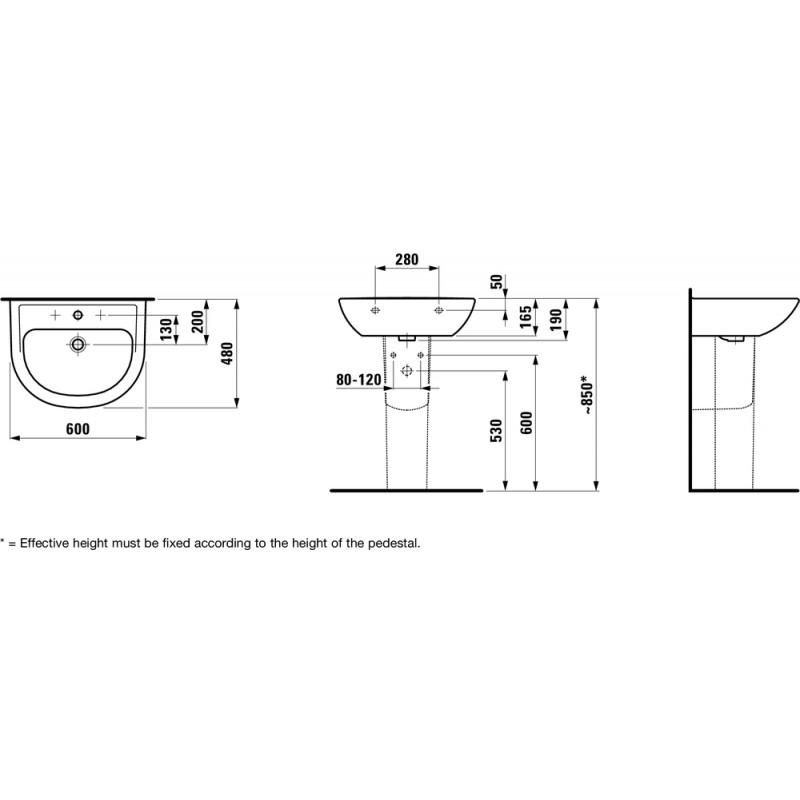 Laufen 810952 tehnična skica