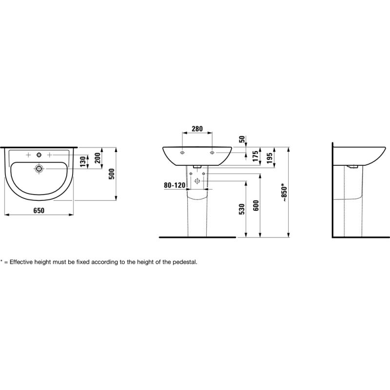 Laufen 810953 tehnična skica