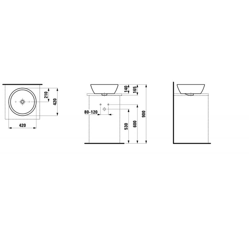 LAUFEN PRO B 812962 tehnična skica