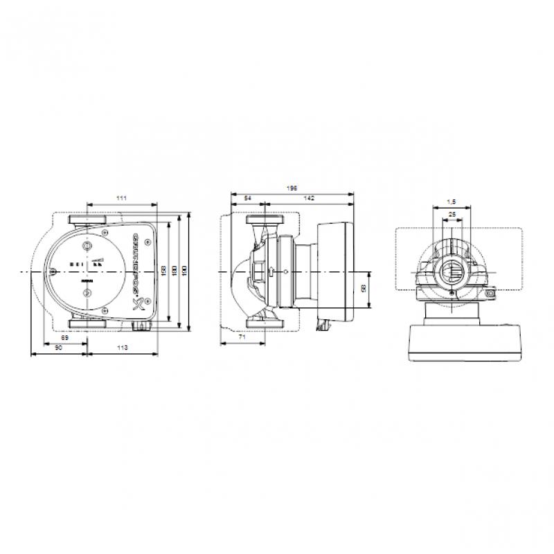 Grundfos MAGNA1 25-80 tehnična skica