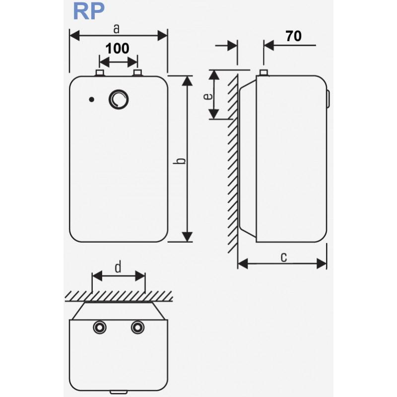 Podpultni bojler KONČAR EGV 5.2 RP 5L - tehnična skica