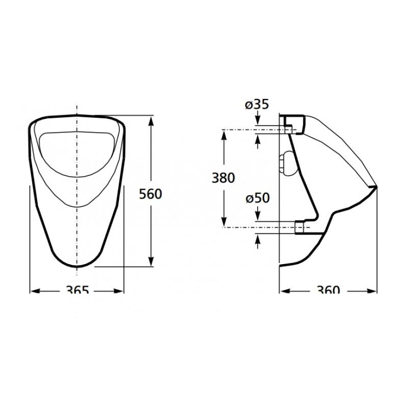 Pisoar INKER (840012Z0000FE) dimenzije