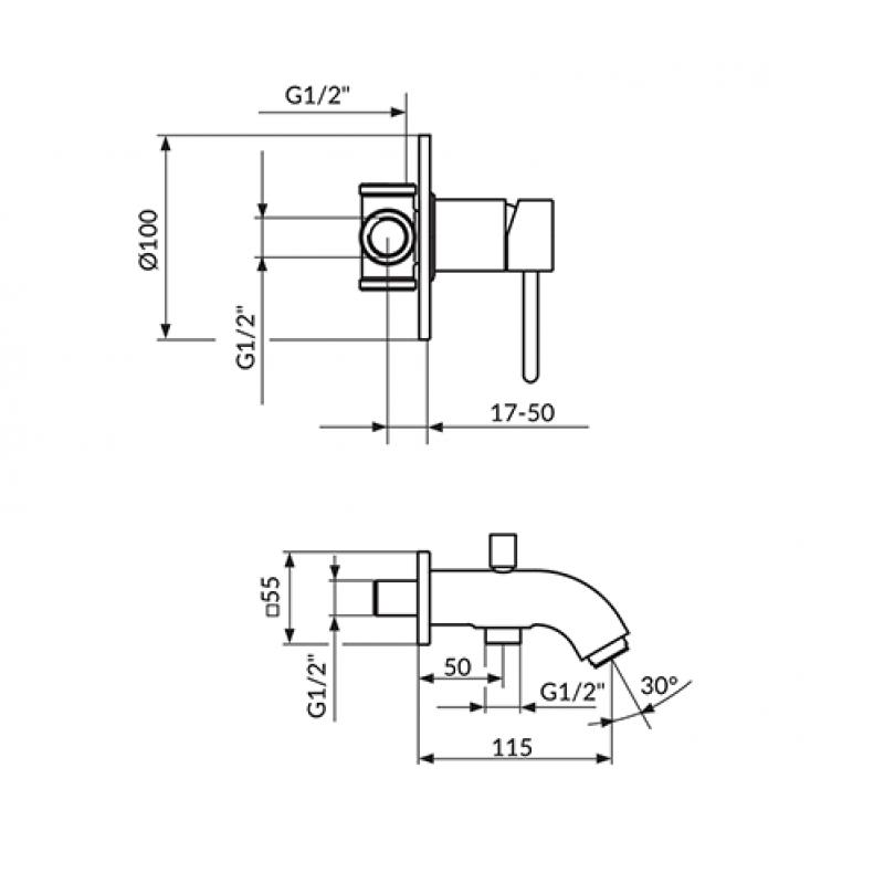 Črna podometna armatura za tuš kad ROSAN DARK JD31201 - tehnična skica