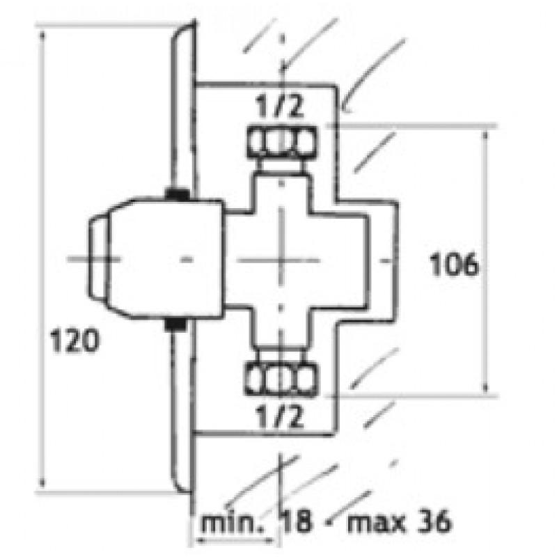 Podometni ventil na pritisk za tuš - Tremolada 467RG - tehnična skica