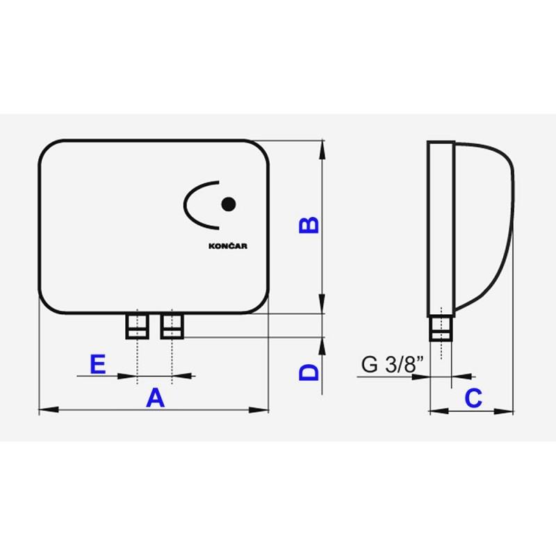 Pretočni bojler KONČAR 0733 - tehnična skica