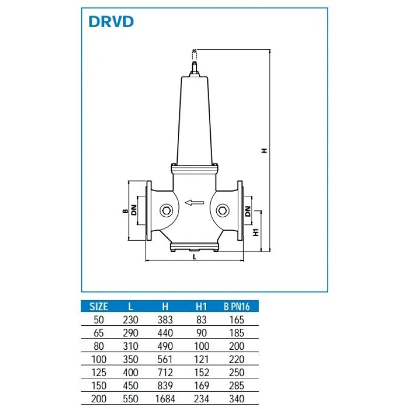 Reducirni ventil WATTS DRVD dimenzije