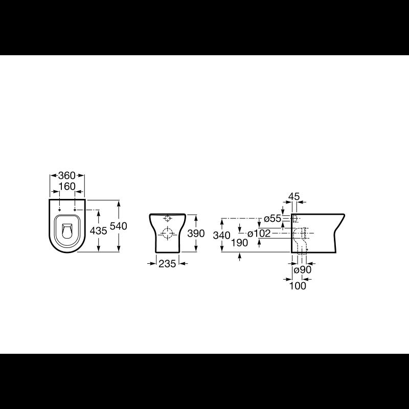 ROCA NEXO tehnična skica