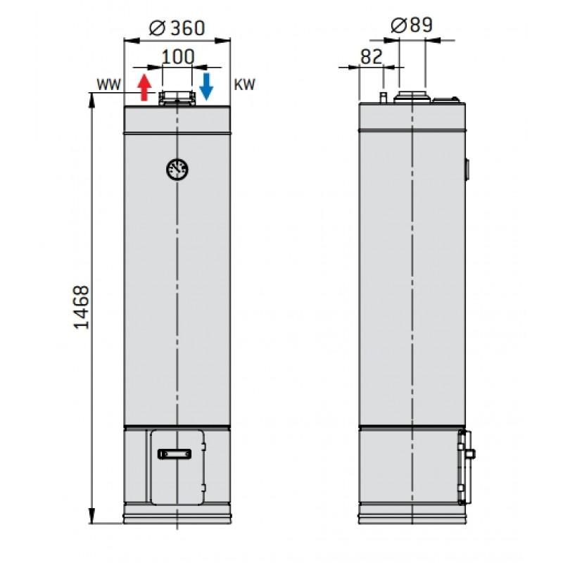 Styleboiler LEGNA - tehnična skica