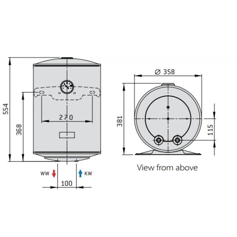 Električni bojler SMART - tehnična skica