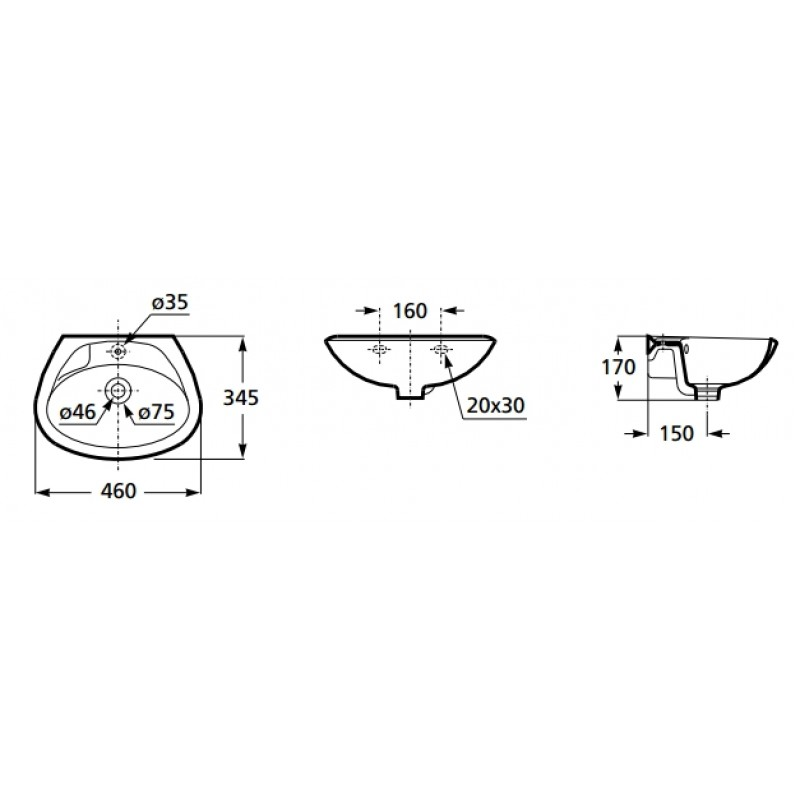 Umivalnik INKER 460 mm, tehnična skica