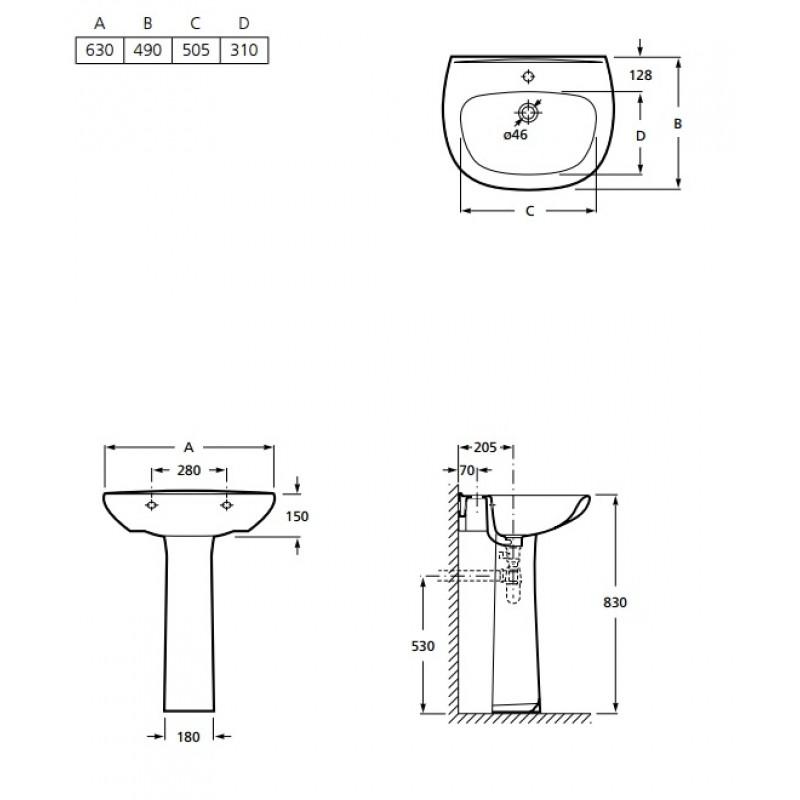 Umivalnik INKER POLO 630 mm, tehnična skica