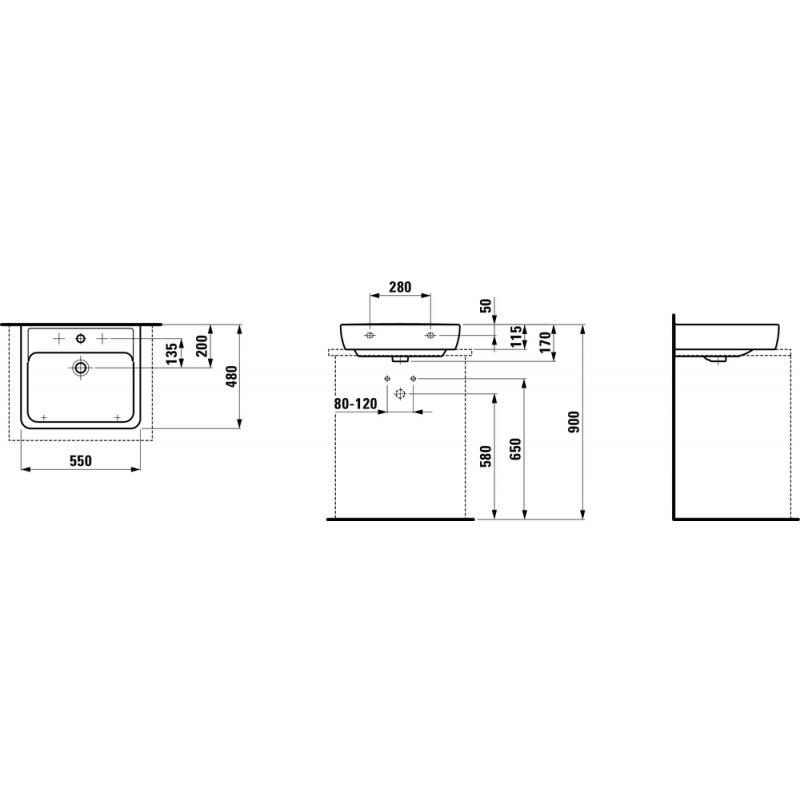 LAUFEN PRO A 817951 tehnična skica