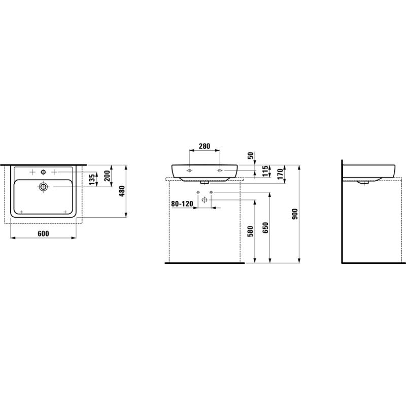 LAUFEN PRO A 817952 tehnična skica