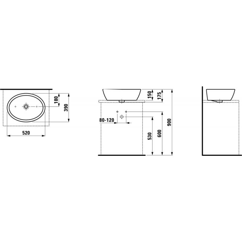LAUFEN 812964 tehnična skica
