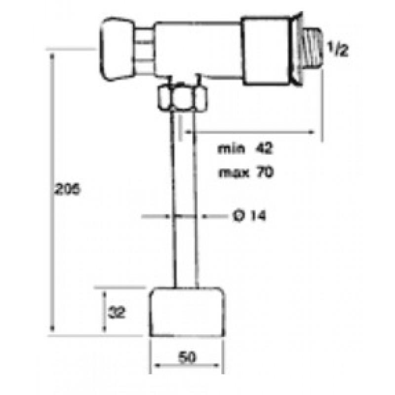Ventil na pritisk za pisoar Tremolada 316RG - tehnična skica
