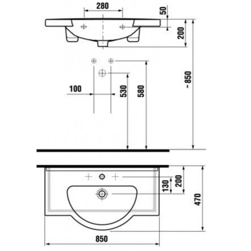 Vgradni umivalnik MIO tehnična skica