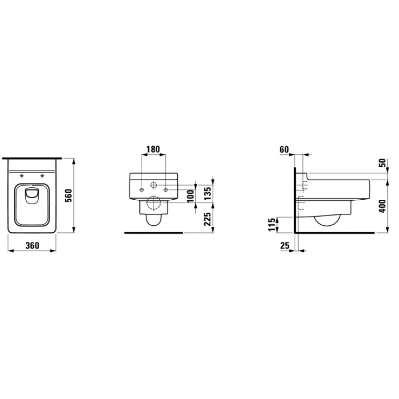 LAUFEN 820435 tehnična skica
