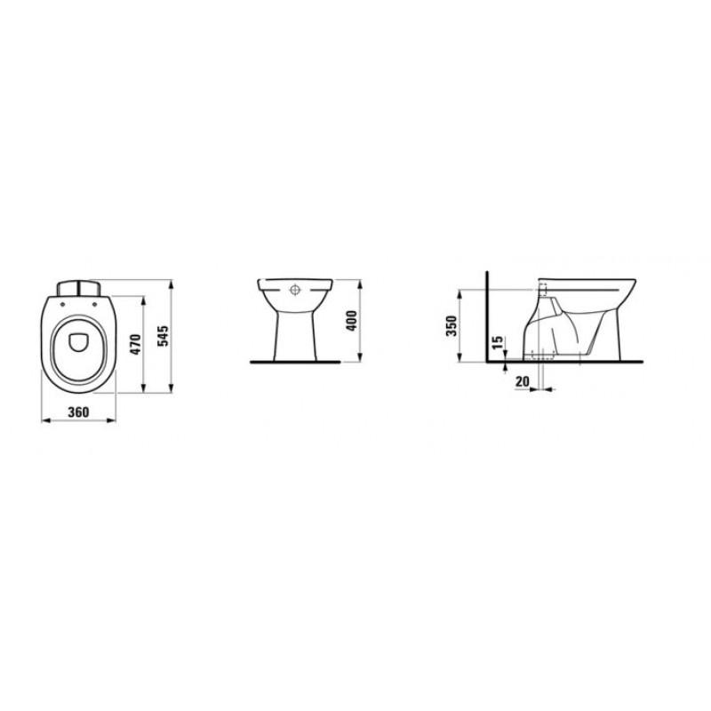 LAUFEN PRO 821957 tehnična skica