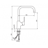 Polprofesionalna armatura za pomivalno korito STOLZ BLACK 138701b - tehnična skica