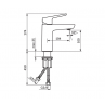 Armatura za umivalnik STOLZ BLACK 130101B - tehnicna skica