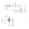 Črna podometna armatura za tuš kad ROSAN DARK JD31101 - tehnična skica