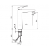 Povišana armatura za umivalnik STOLZ BLACK 130101B - tehnična skica